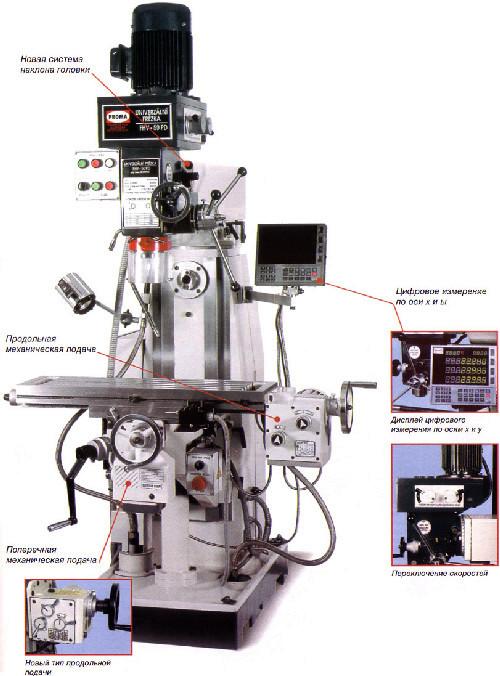 Универсальный фрезерный станок с цифровым измерением FHV-50PD